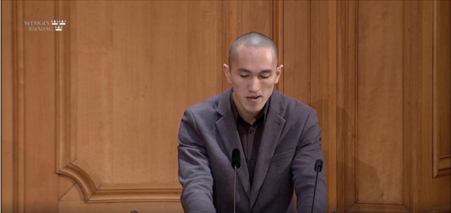 Andreas Zheng Svensson, ordförande i den ideella föreningen Knas Hemma under Socialutskottets utfrågning den 1 oktober 2020.