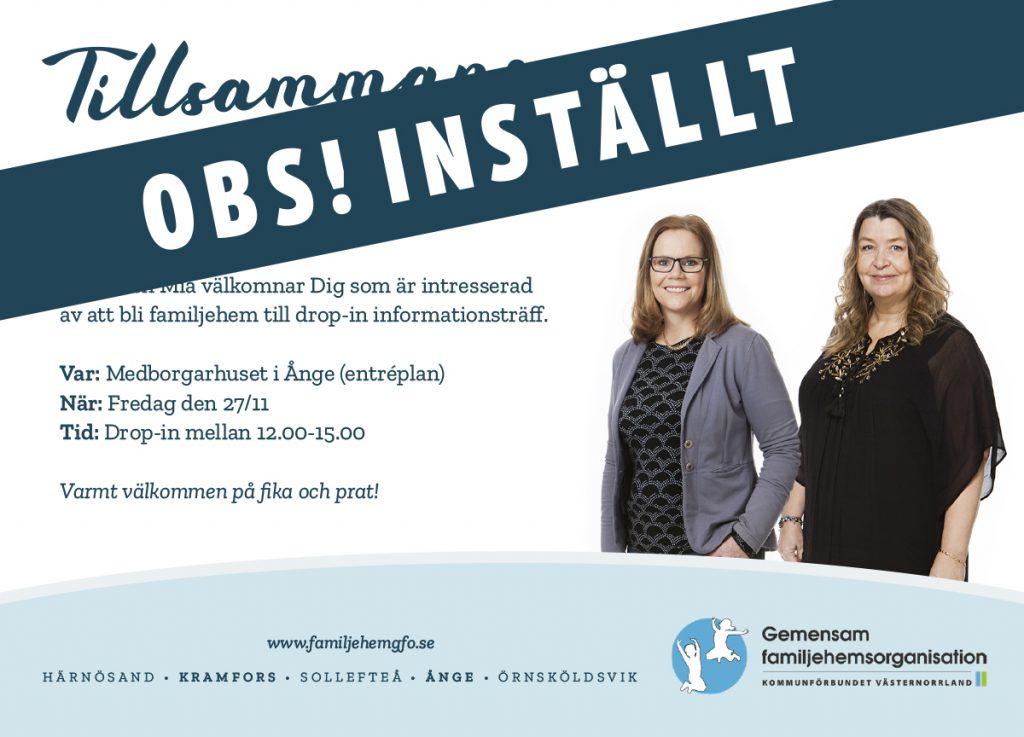 Ursprunglig annons publicerad i Ljunganbladet för GFOs drop-in informationsträff med texten obs inställt över
